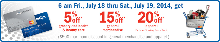 Get 5% off Grocery and Health & Beauty Care, 15% off GM and 20% off