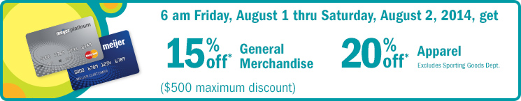Get 15% off General Merchandise and 20% off apparel, when you use your Me