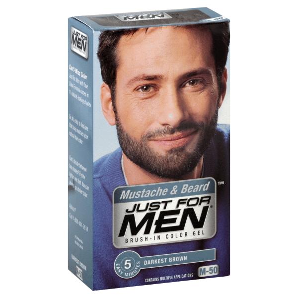 Just for Men Brush-In Color Gel Mustache & Beard Darkest Brown M-50 ...