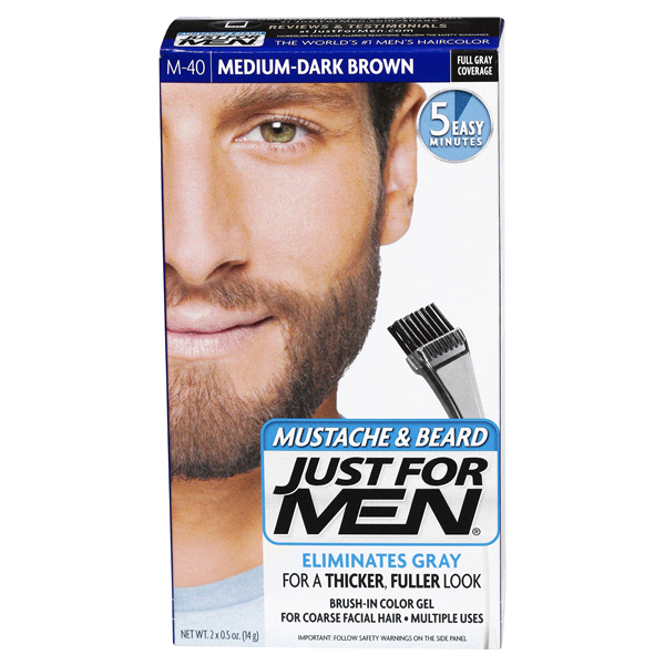 Just For Men Mustache & Beard Brush-In Color Gel M-40 Medium-Dark ...