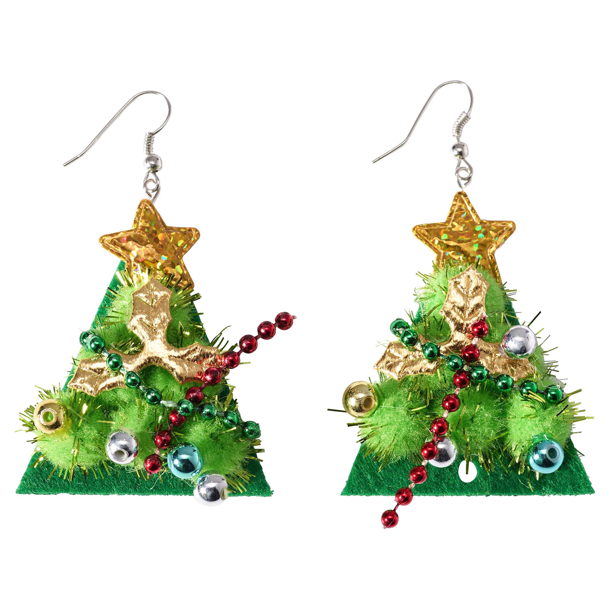Silver-Tone Green Pom-Pom Christmas Tree Drop Earrings | Meijer.com