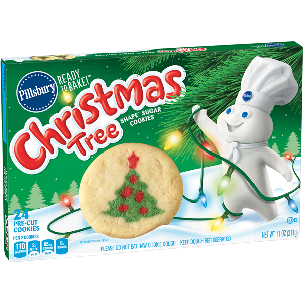 Pillsbury Ready To Bake Christmas Tree Shape Sugar Cookies 11 Oz Box