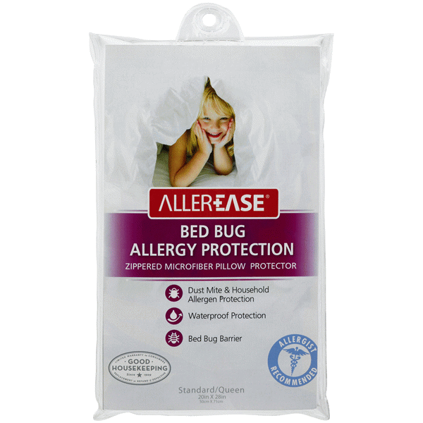 allerease bed bug waterproof pillow protector