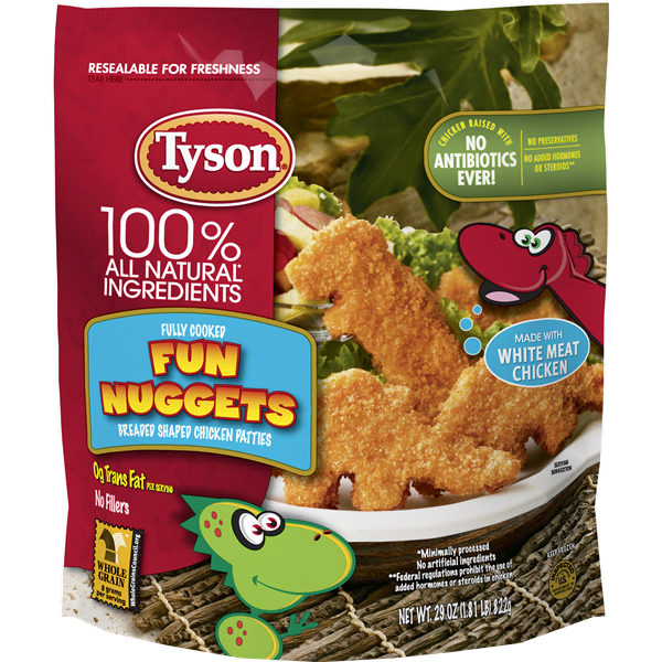 Tyson Fully Cooked Fun Nuggets With Whole Grain Breading 29 Oz Frozen
