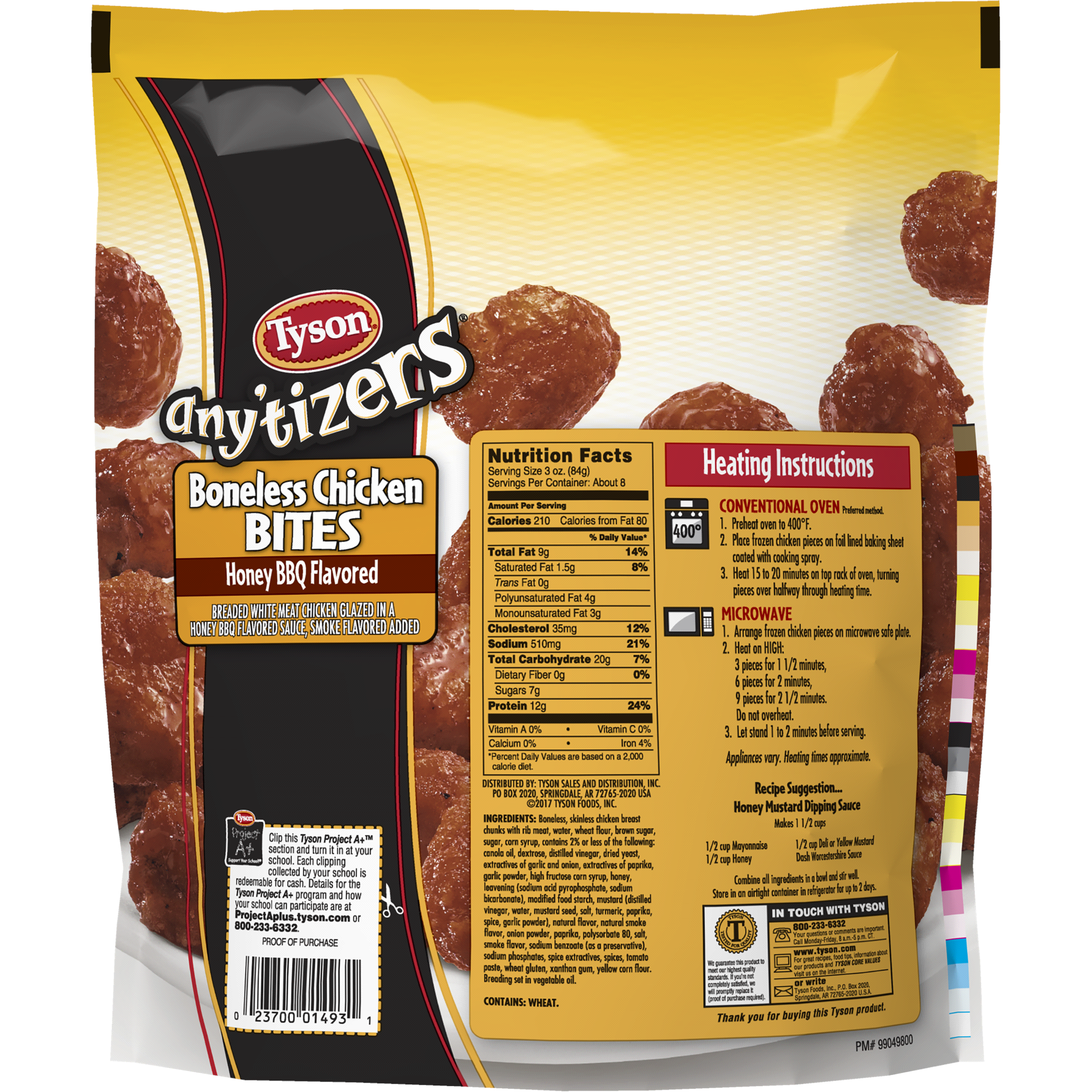 tyson anytizers honey bbq boneless chicken bites 24 oz. (frozen