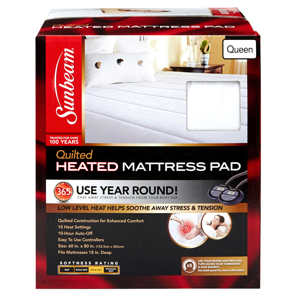 Sunbeam Quilted Heated Mattress Pad White Queen Meijercom