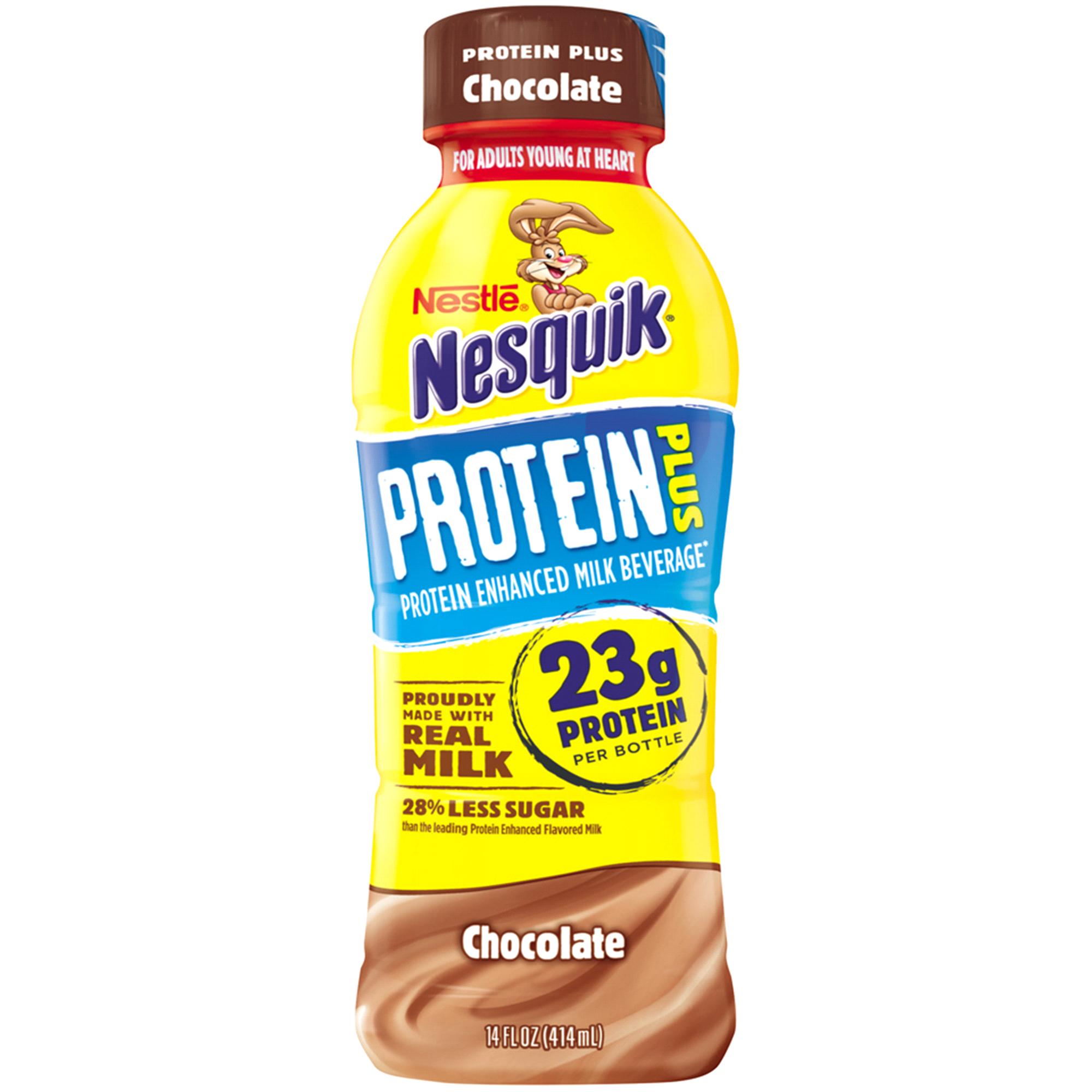 Nestle Nesquik Protein Plus Chocolate Flavored Low Fat Milk 14 oz ...