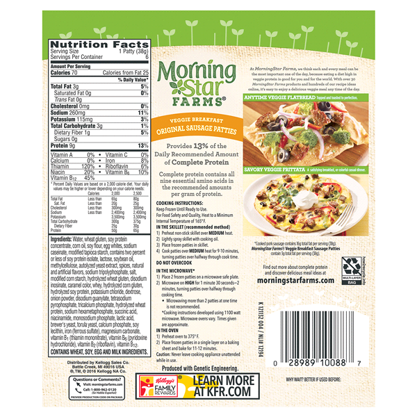 Morningstar Farms Breakfast Original Sausage Patties 6 Count