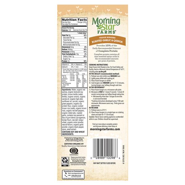 Morningstar Farms Roasted Garlic Quinoa Burgers 4 Count Meijer