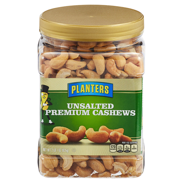 Planters Unsalted Premium Cashews 33 oz Jar | Meijer.com on planters peanuts nutrition information, planters cashews nutrition, planters honey roasted peanuts nutrition, planters whole cashews, planters cocktail peanuts nutrition, planters salted peanuts nutrition,
