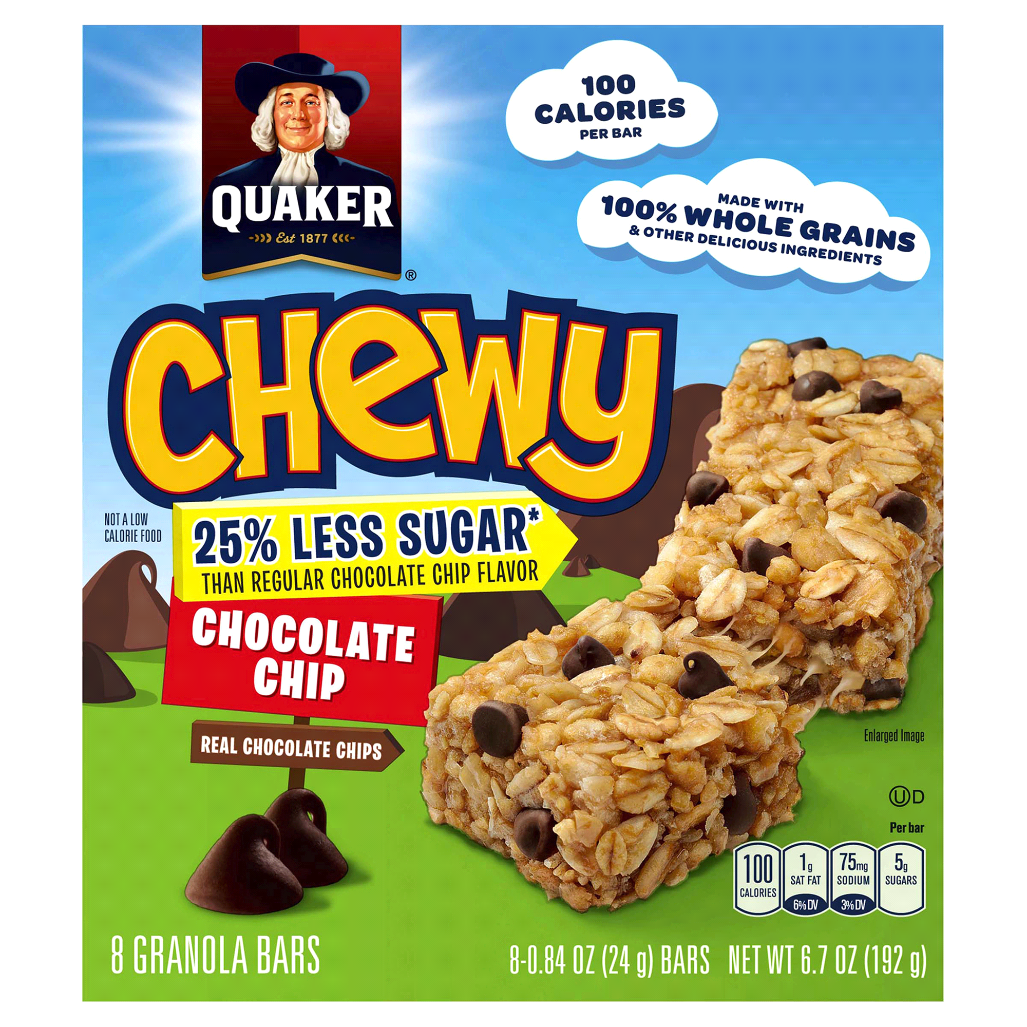 quaker 25% less sugar chewy granola bars chocolate chip 8 count