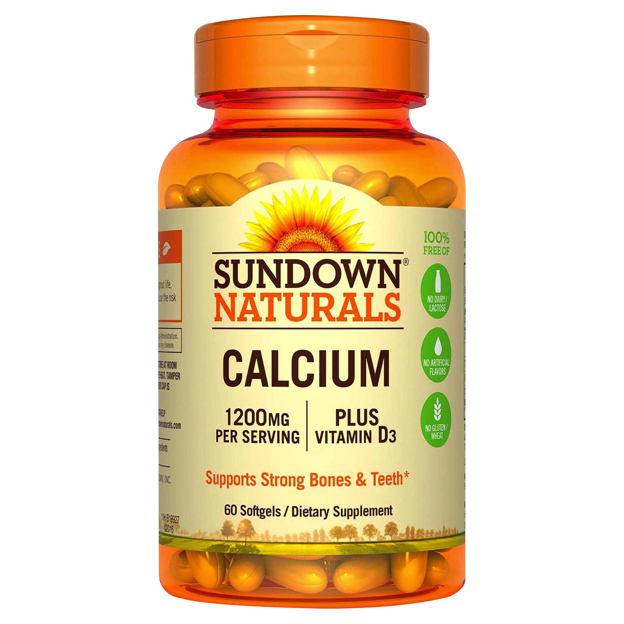 Sundown Calcium 1200 Plus D Liquid Filled Softgels 60 Ct Softgel Green World