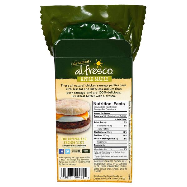Al Fresco Apple Maple Fully Cooked Chicken Sausage Patties 8 Oz
