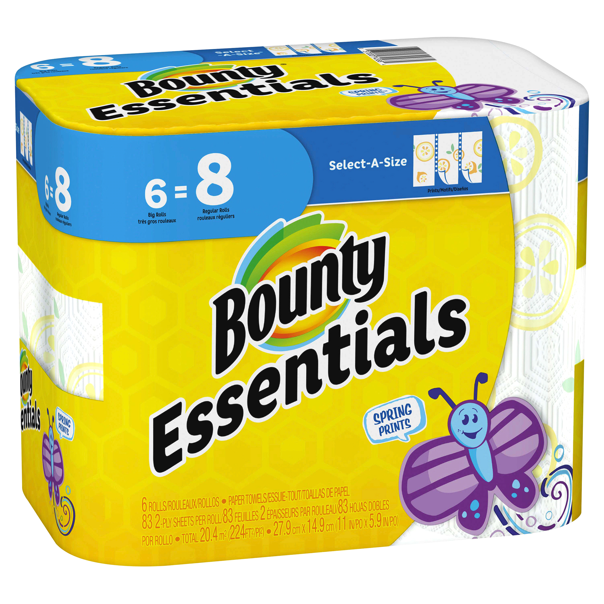 Bounty Essentials Select-A-Size Paper Towels Spring Print 6 Big ...