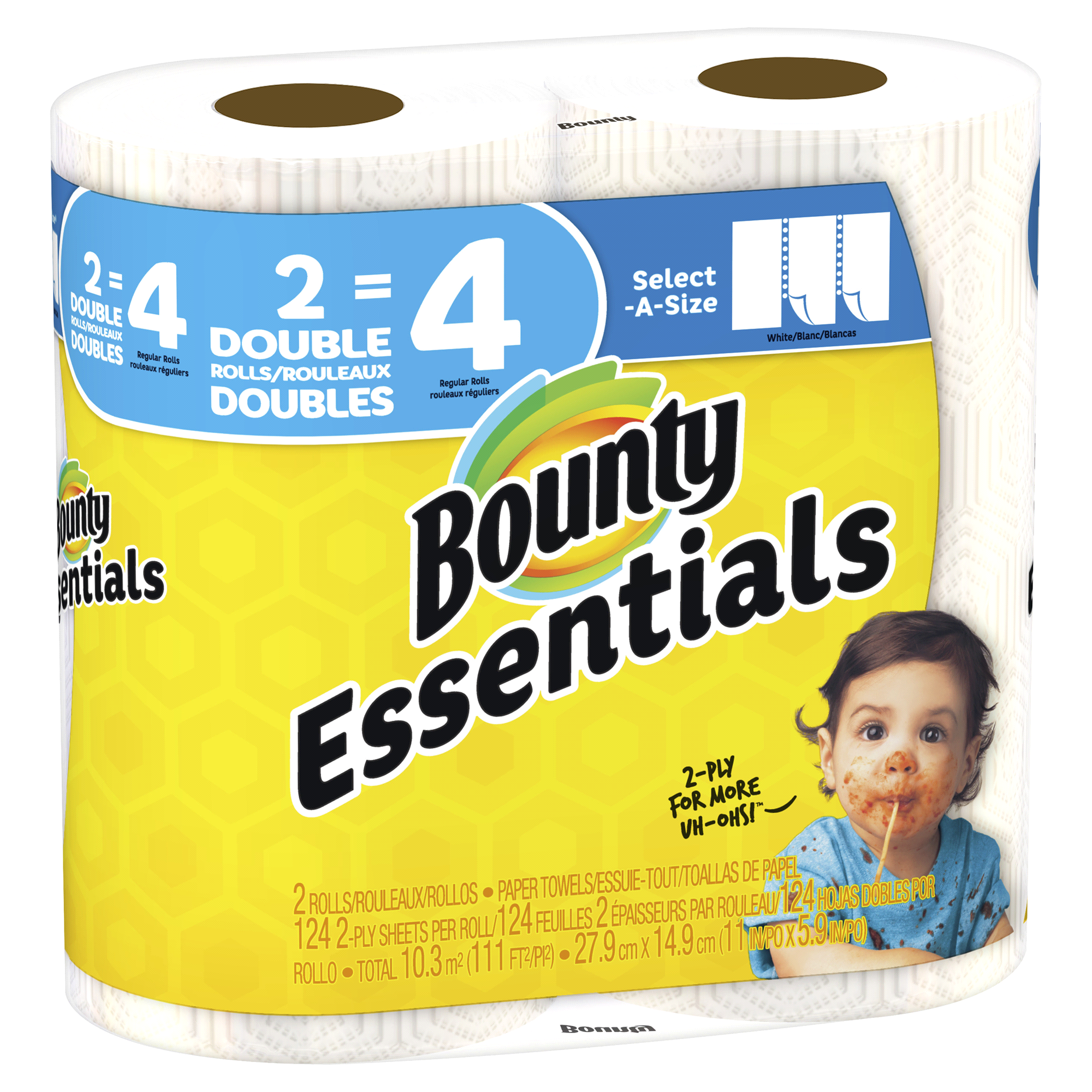 Bounty Essentials Select-A-Size Paper Towels White 2 Double Rolls ...
