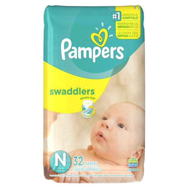 Pampers Swaddlers Newborn Diapers Size N 32 count