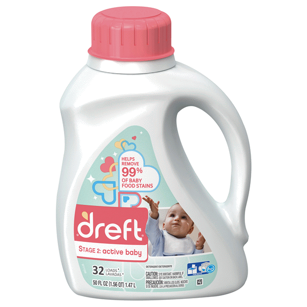Dreft Stage2Active Baby Laundry Detergent 50 Oz 32 Load