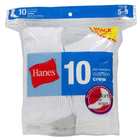e66afc5eef7 Hanes Womens Crew Sock 10 pk White Size 5-9
