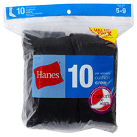 95d78890024 Hanes Women Black Cushion Crew Socks 10 Pair Size 5-9