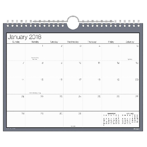 mead silver blue hanging wall calendar small meijer com