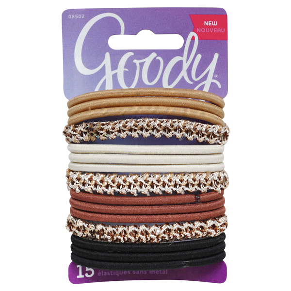 Goody Ouchless Hair Tie Elastics Assorted Primal Neutrals 15 ct ... 5127297fd3c