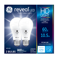 Ge Reveal Hd 60w Replacement Led Light Bulbs General Purpose A19 2 Pack