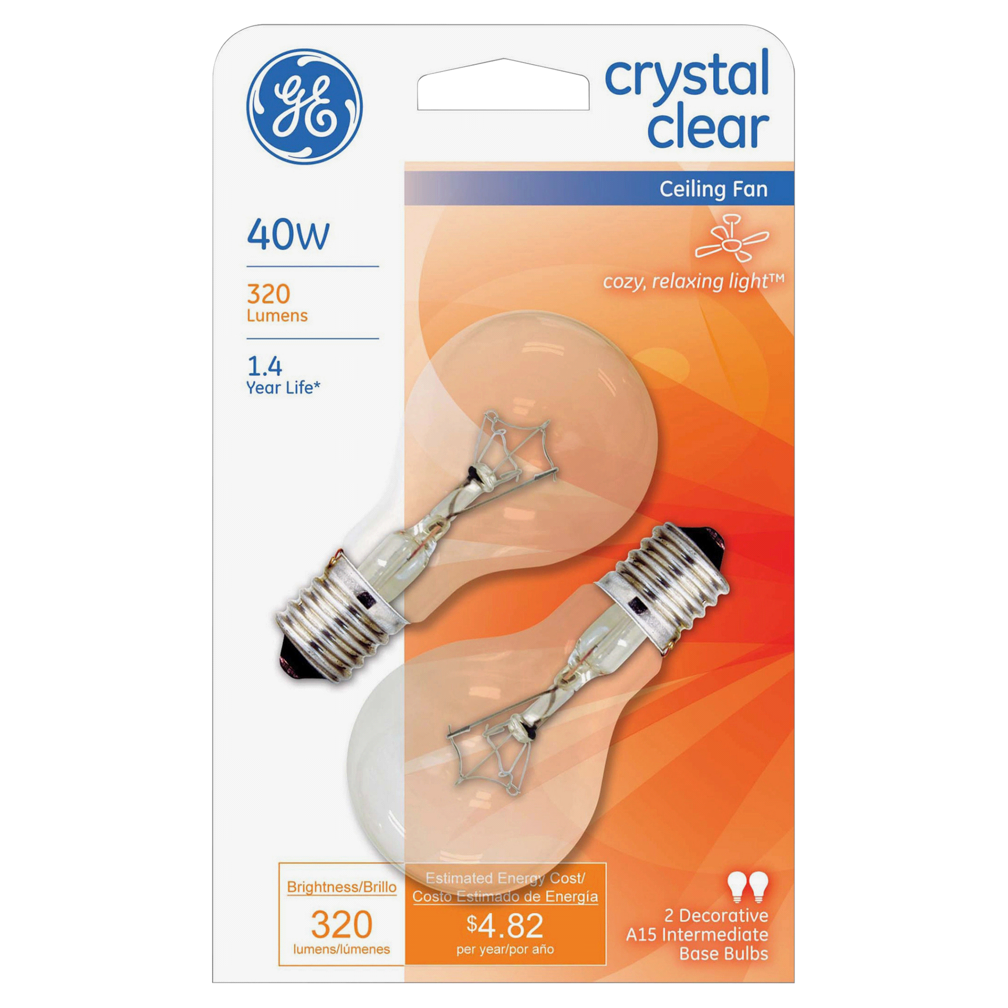 GE 40 Watt A15 Intermediate Base Ceiling Fan Clear Bulb 2 Pack