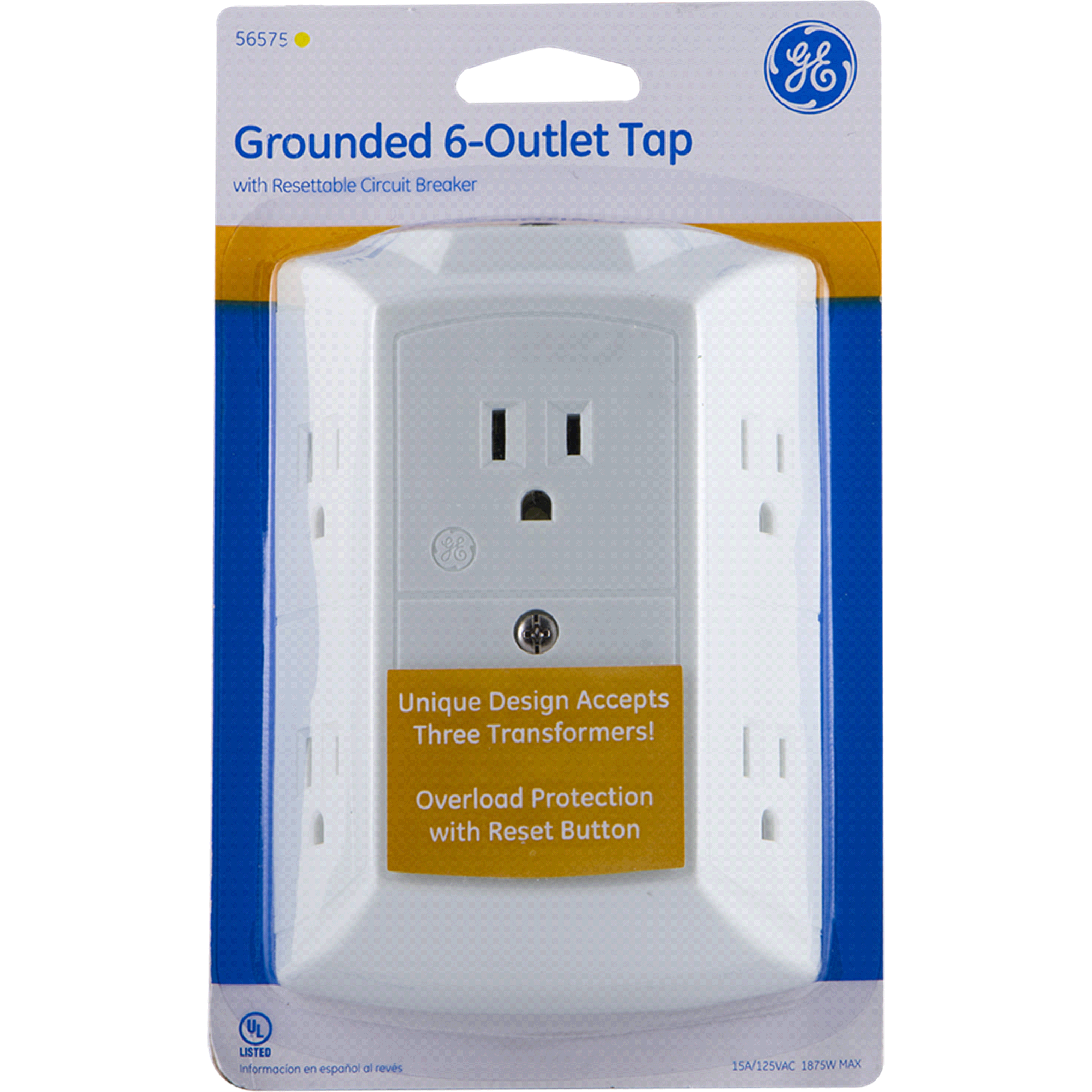 GE Grounded 6 Outlet Tap with Resettable Circuit Breaker   Meijer.com