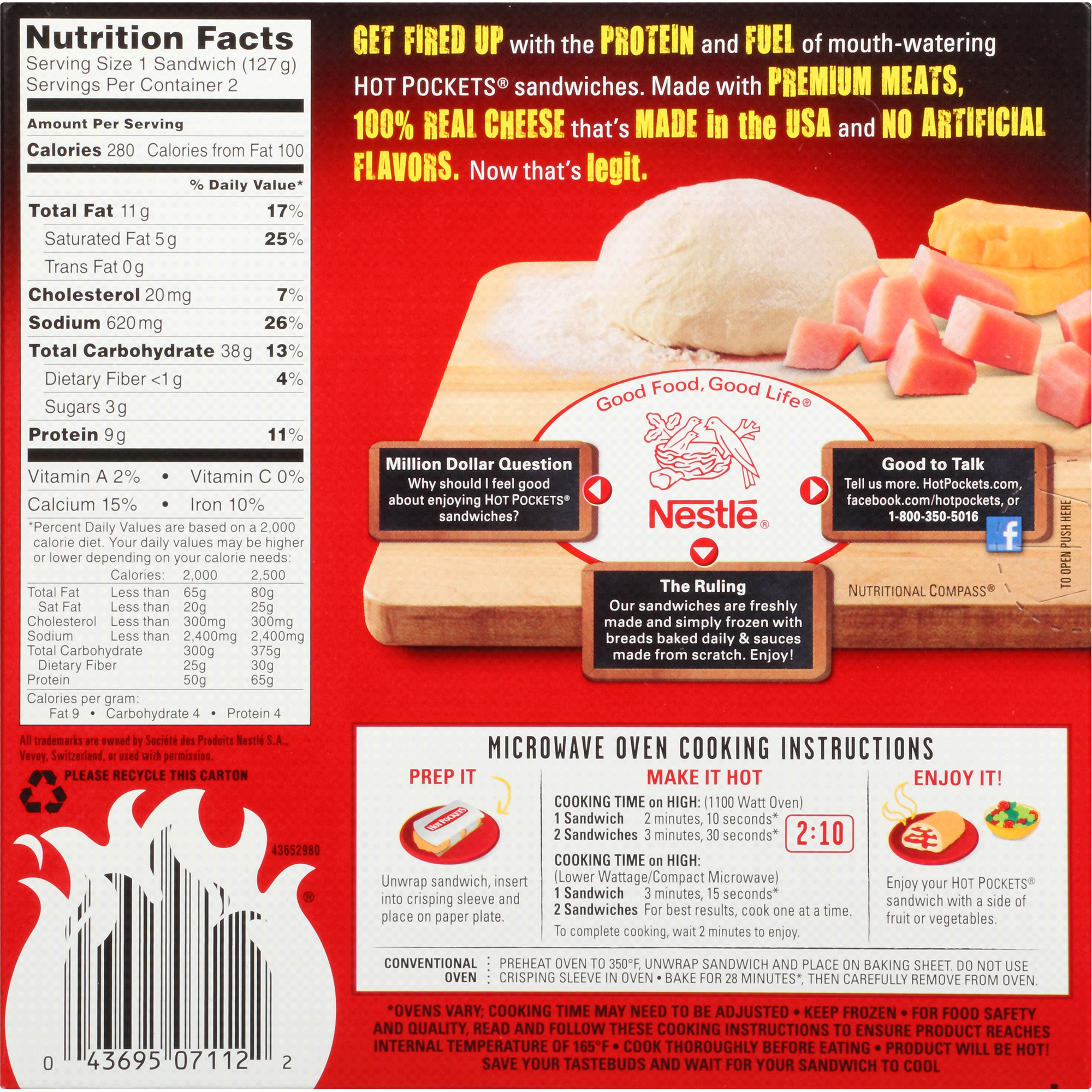 Ham And Cheese Hot Pocket Nutrition Information