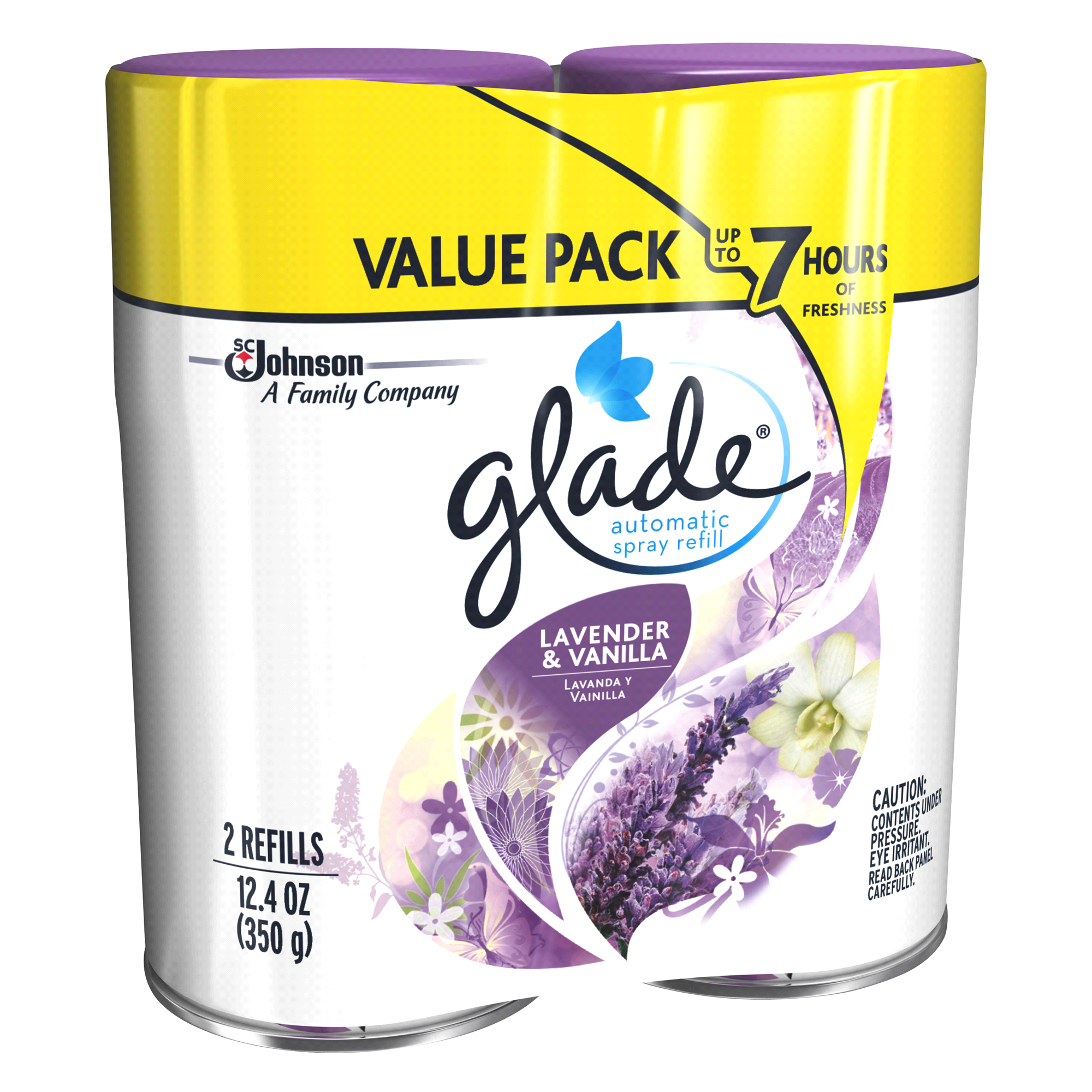 Glade Automatic Spray Air Freshener Refill Lavender Vanilla 124 Oz Matic Device Pr 2 Pk