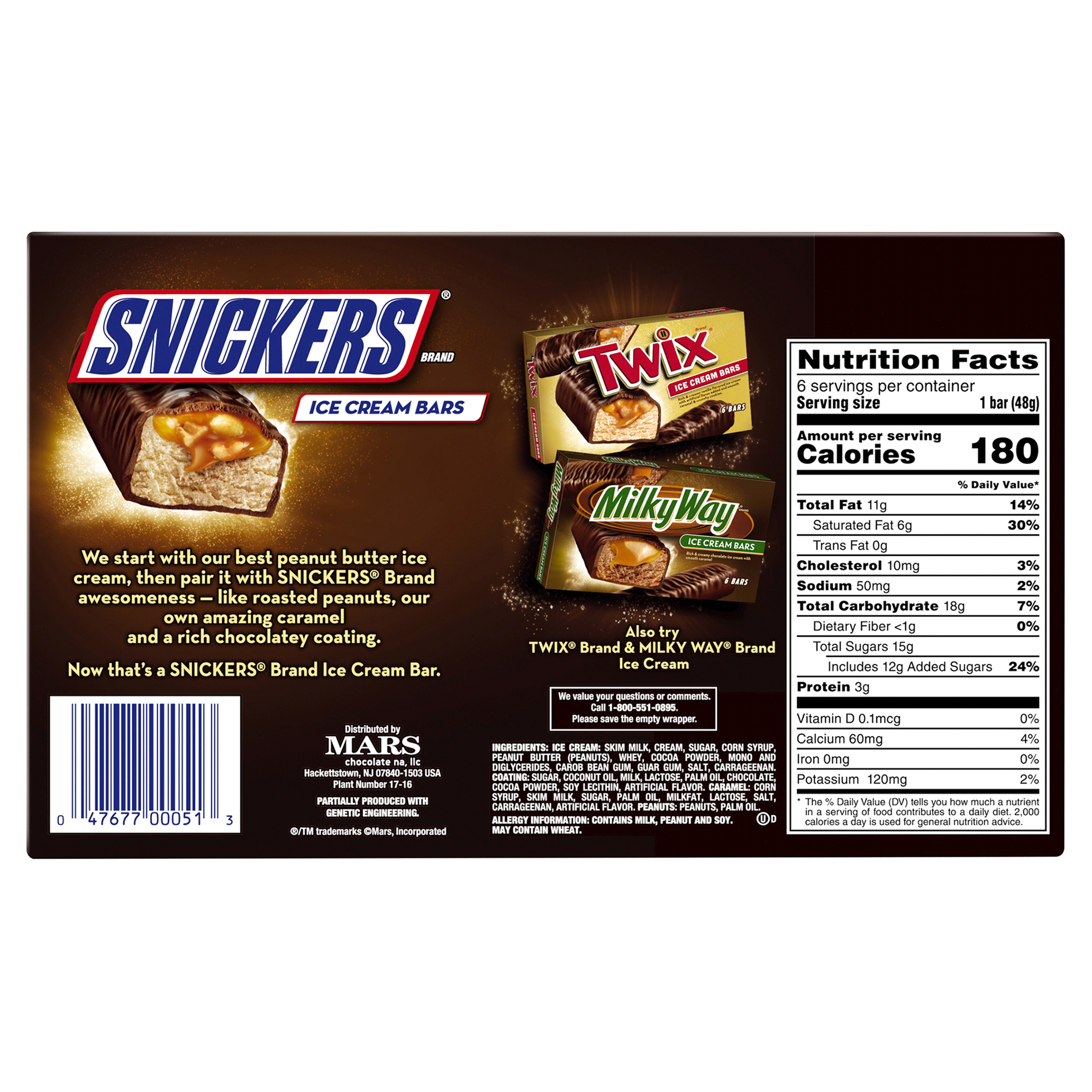 Nutrition Facts Snickers Ice Cream Bar