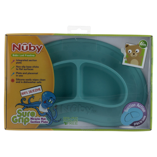 Nuby Sure Grip Miracle Mat Sectioned Plate