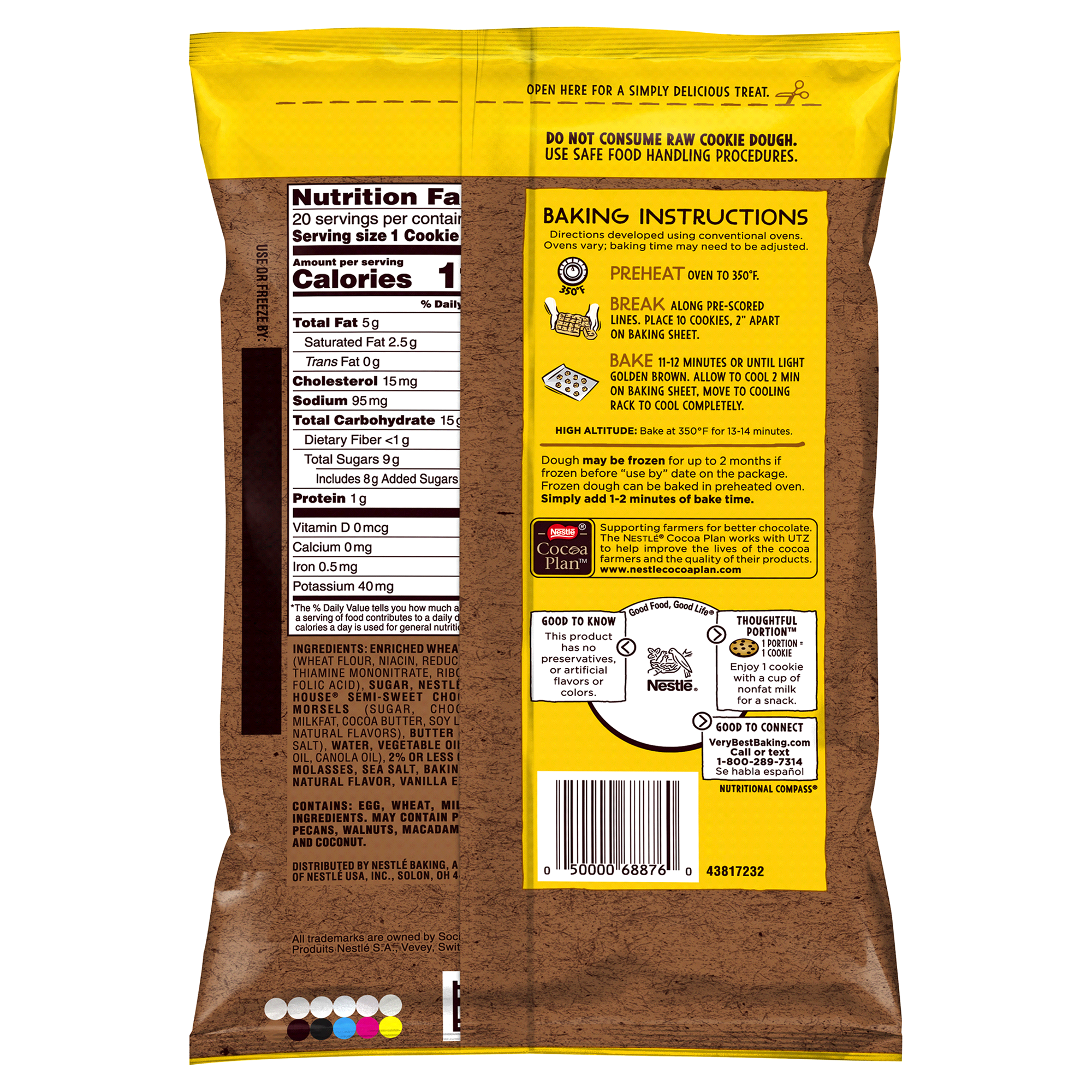 Nestle Toll House Simply Delicious Chocolate Chip Cookie Dough 18 Oz