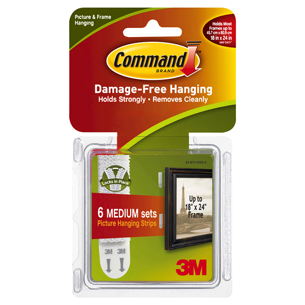 Command Medium Picture Hanging Strips White 6 Sets Of Stripspack