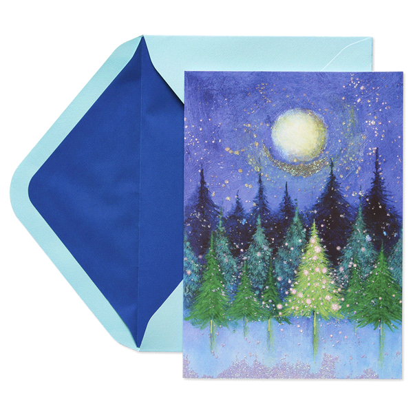 papyrus trees under moon sonata holiday boxed cards - Papyrus Holiday Cards