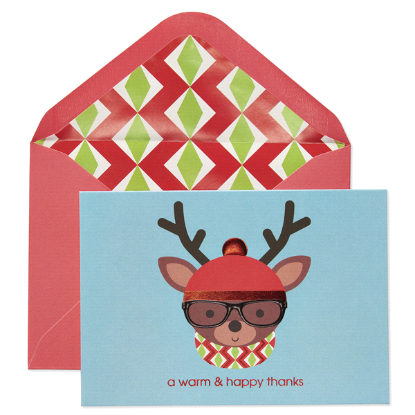 papyrus deer with hat glasses thank you holiday boxed cards