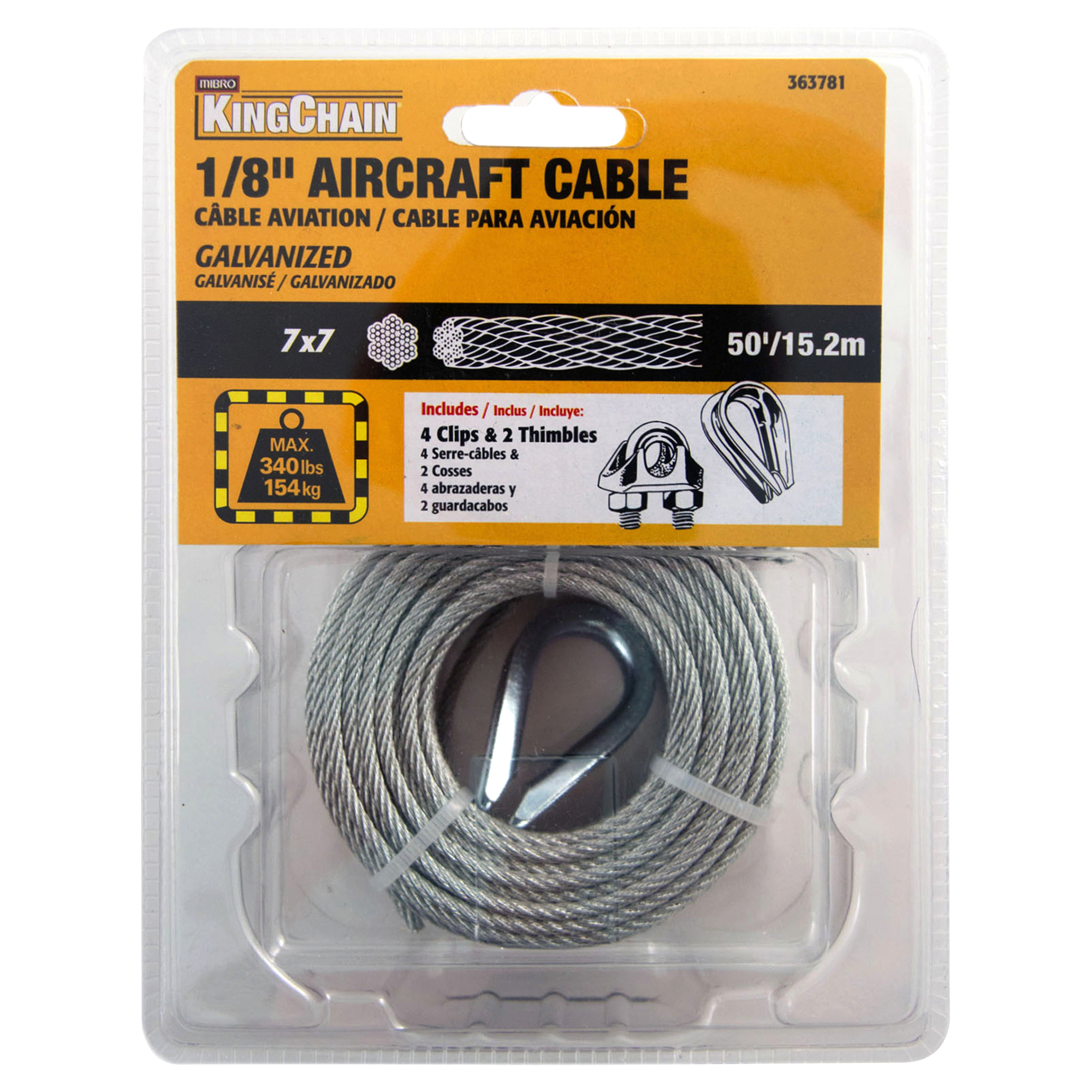KingChain 1/8 x 50 7x7 Galvanized Aircraft Cable - Grab N Go Pack ...
