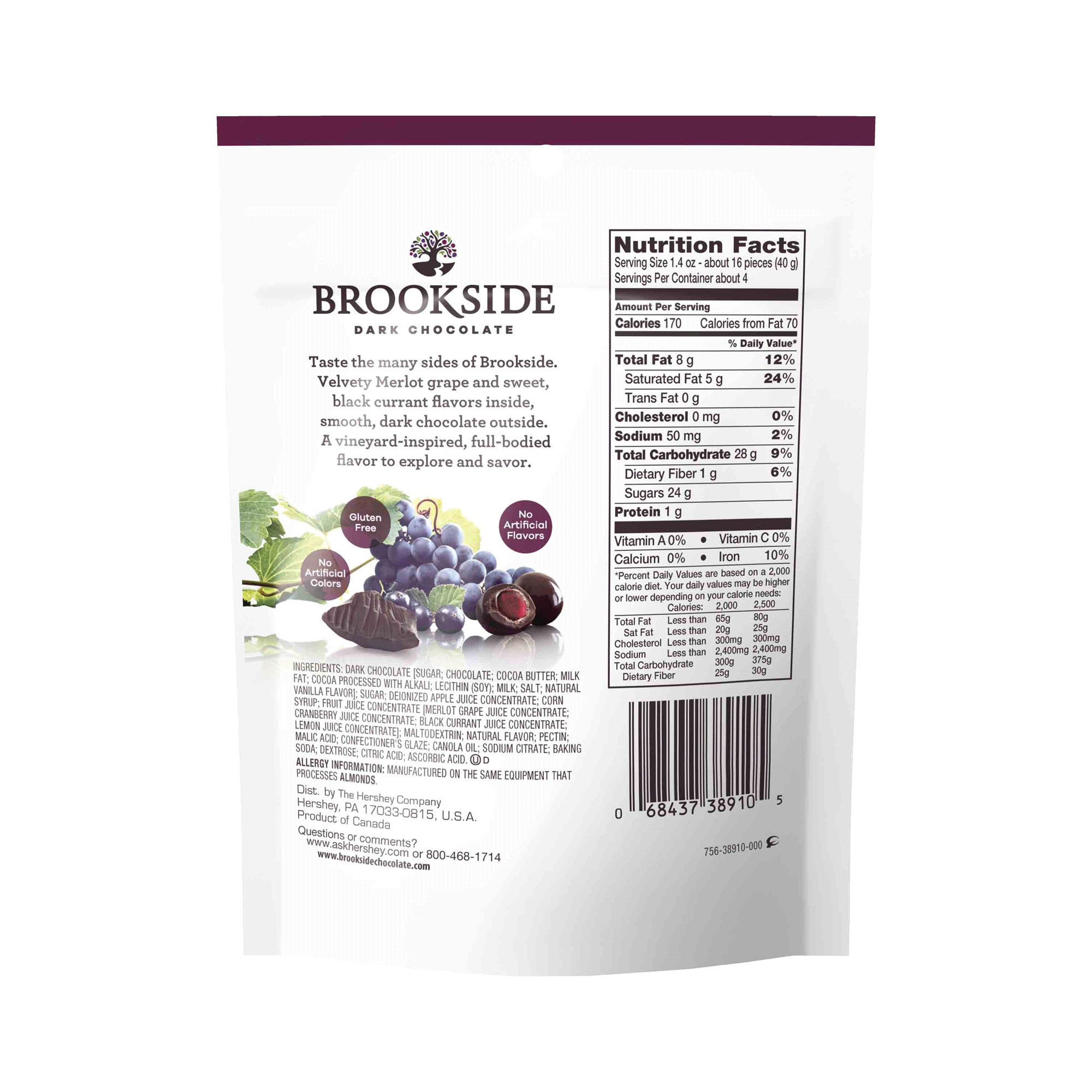 BROOKSIDE Dark Chocolate Merlot Grape & Black Currant Flavors 6oz