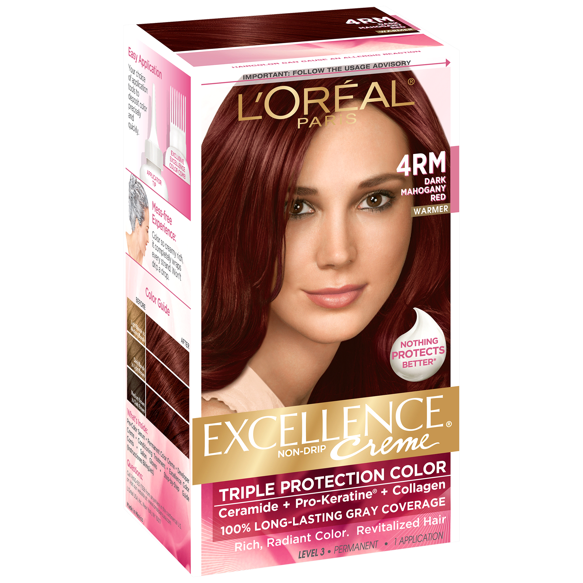 Loreal Paris Excellence Non Drip Crme Triple Protection Color 4rm
