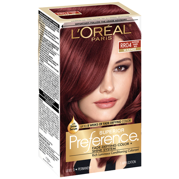 Loreal Paris Superior Preference Fade Defying Color Shine System Rr04 Intense Dark Red