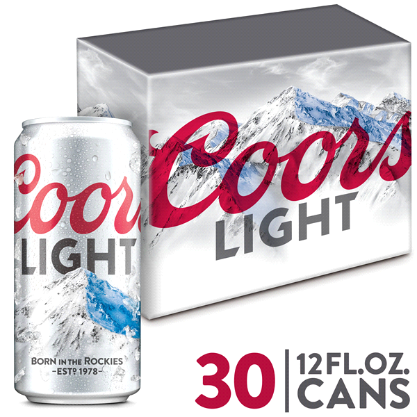 Coors Light Lager Beer 30 Pack 12 Fl. Oz. Cans 4.2% ABV Nice Look