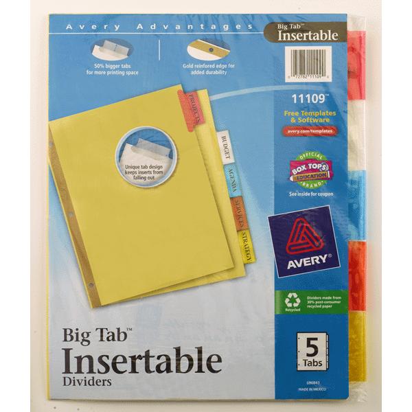 Avery Worksaver Big Tab Insertable Dividers 11109 5 Tab Set