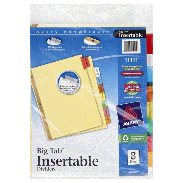 Avery® Big Tab™ Insertable Dividers 11111 8-Tab Set | Meijer.com