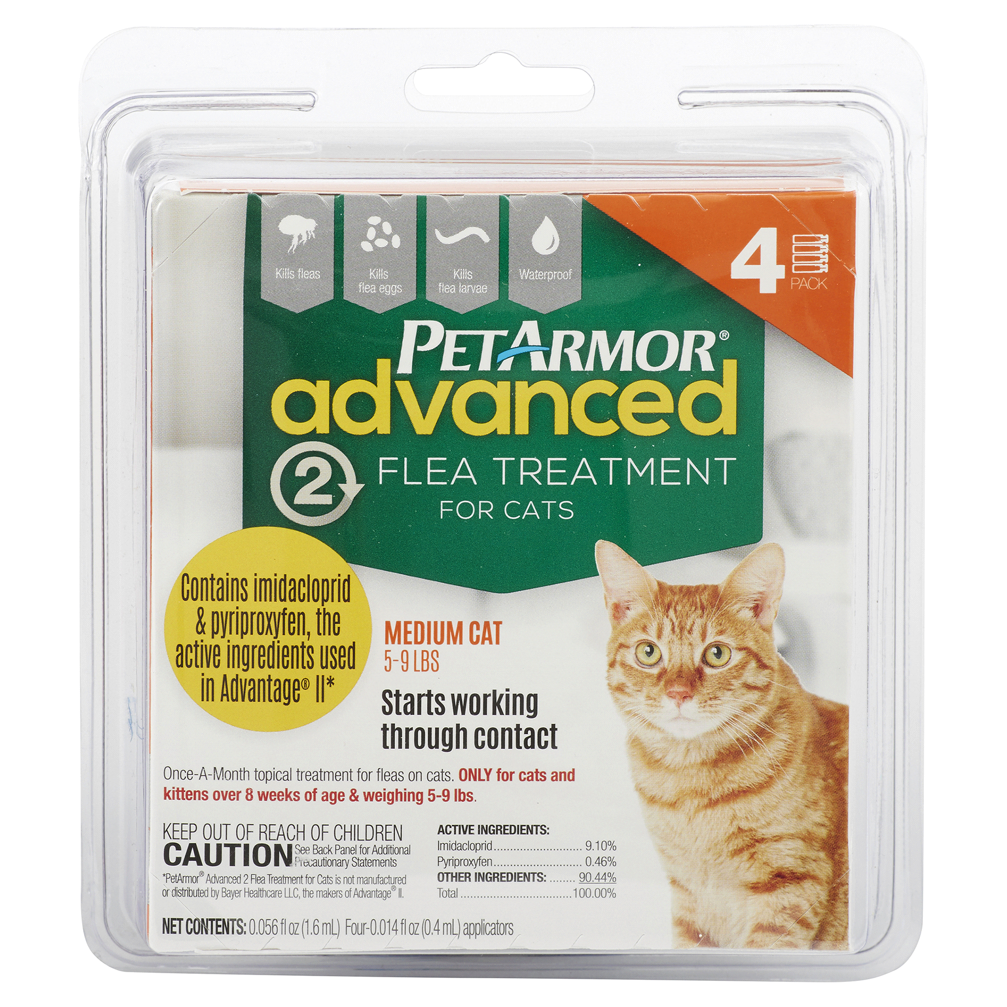 PetArmor Advanced 2 Flea Treatment for Cats, 5-9 lbs, 4 pk