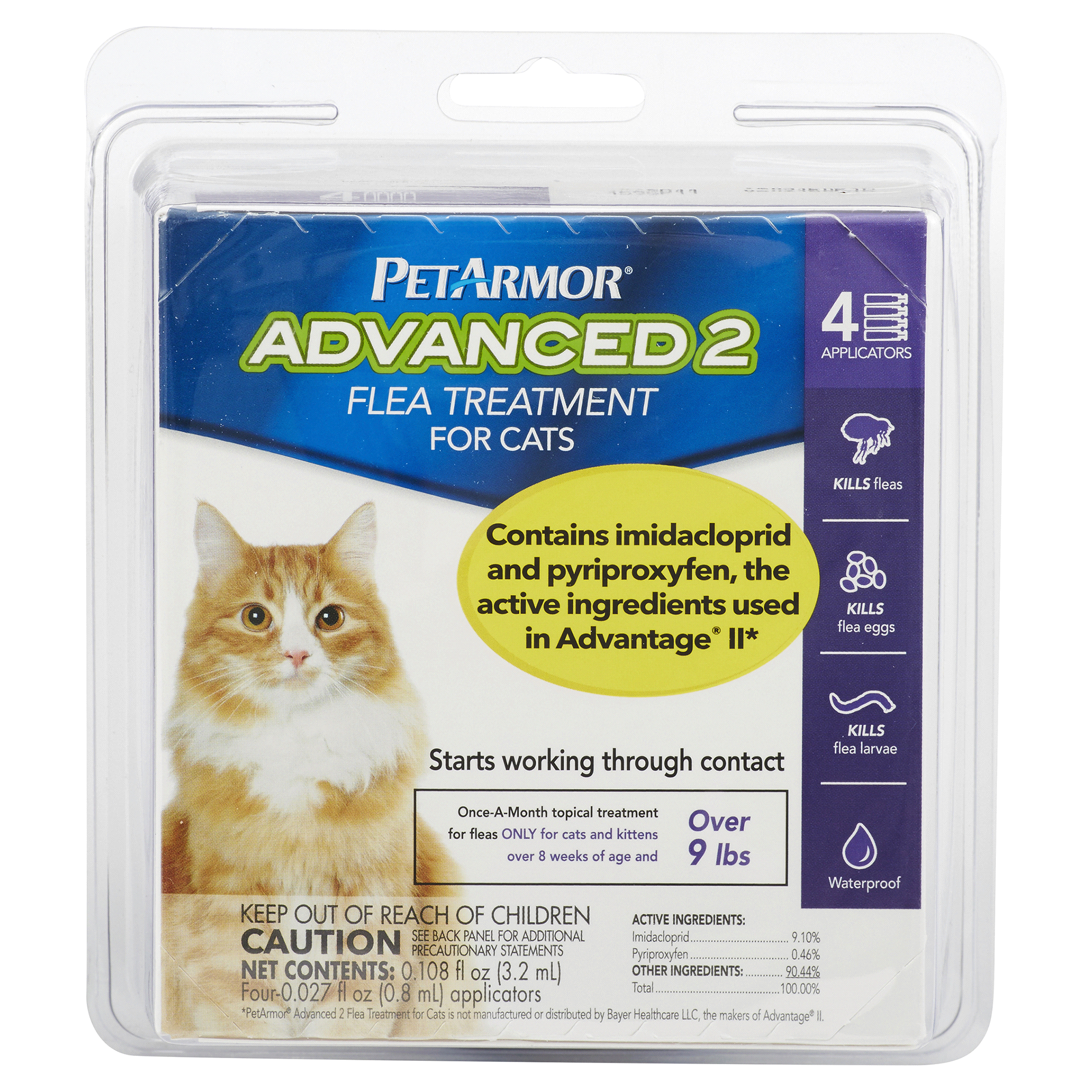 PetArmor Advanced 2 Flea Treatment for Cats 9 lbs 4 pk