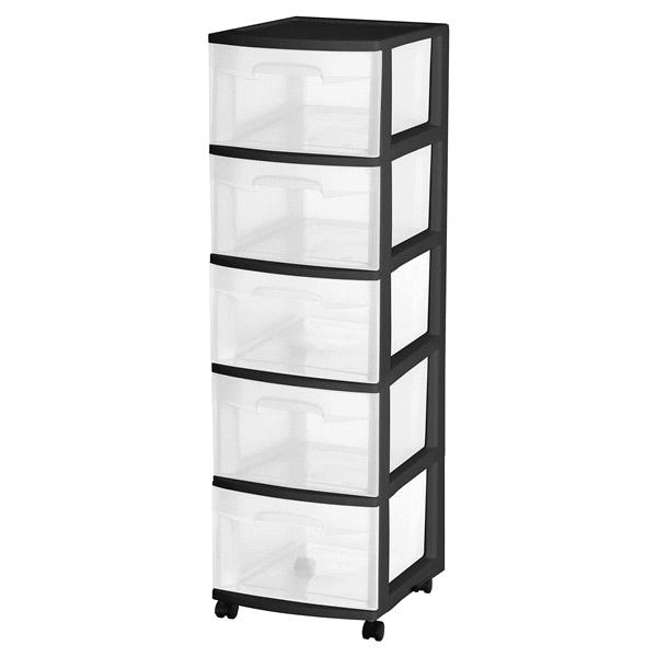 sterilite 5 drawer tower Sterilite 5 Drawer Cart Black | Meijer.com sterilite 5 drawer tower