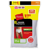 394cff4439 Hanes Mens TAGLESS® No Ride Up Briefs with Comfort Flex® Waistband White 7  Pack