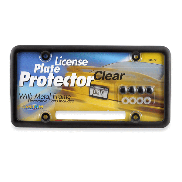Custom Combos Clear License Plate Cover with Black Metal License ...