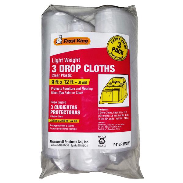 frost king clear drop cloths 3 pack 9u0027 x 12u0027 8 mil