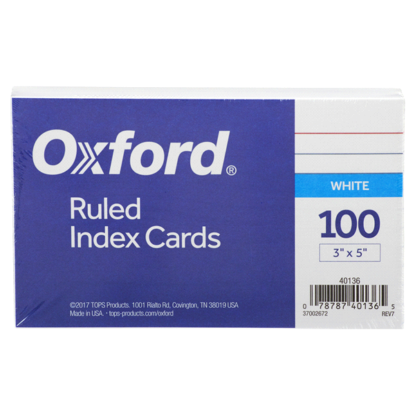 Oxford Index Cards 3x5 White Ruled 100 Ct .